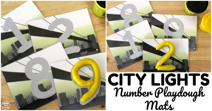 Fun City Number Playdough Mats for Kids