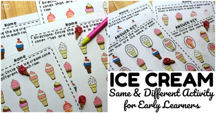 Fun Ice Cream Same and Different Worksheets