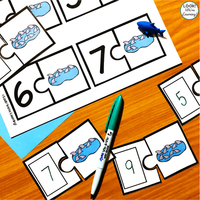 Fun Shark Counting to Ten Puzzles