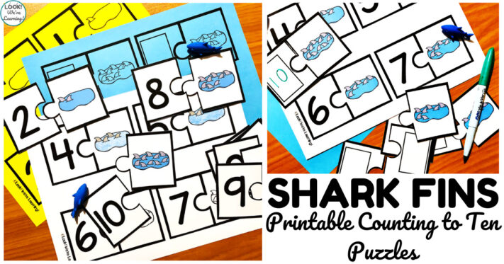 Fun Shark Counting to Ten Puzzles for Early Learners