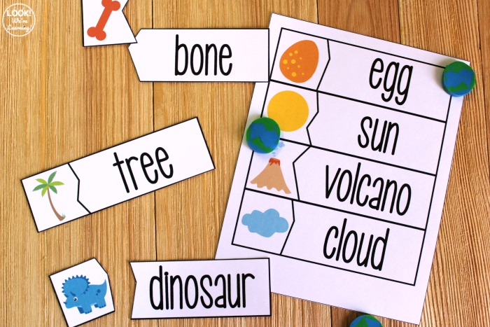 Printable Dinosaur Word Matching Puzzles for Kids