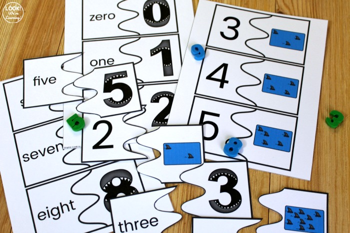 Printable Shark Counting Puzzles for Kids
