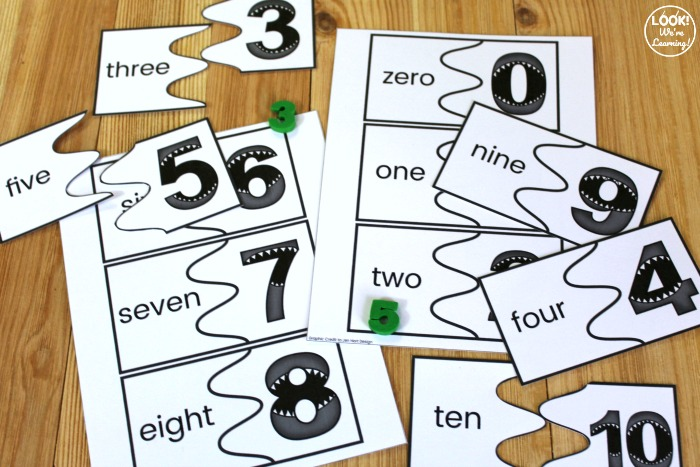Printable Shark Counting to Ten Puzzles