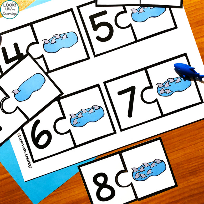 Printable Shark Themed Counting Puzzles