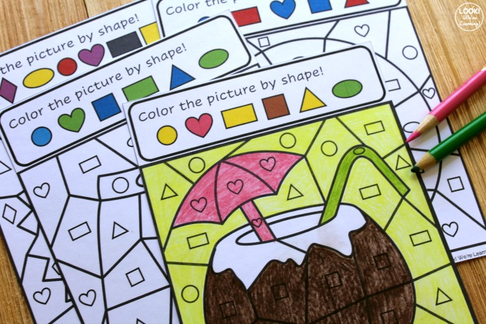 Printable Summer Color by Shape Activity