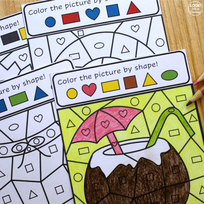 Printable Summer Color by Shape Art Activity for Kids