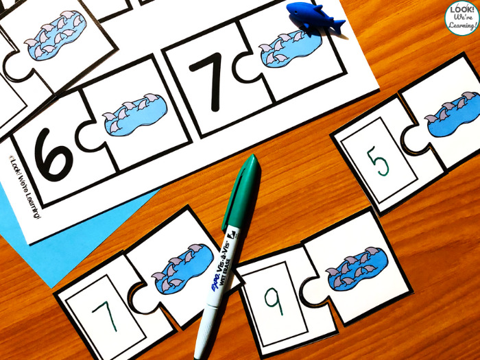 Printable Write and Wipe Shark Counting Puzzles