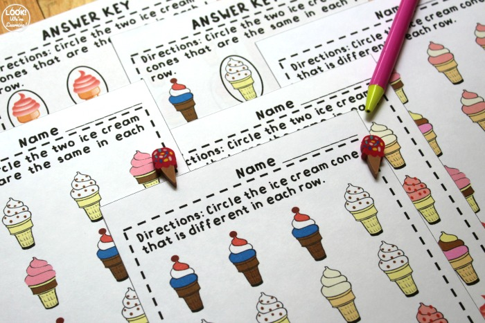 Same and Different Worksheets for Early Learners