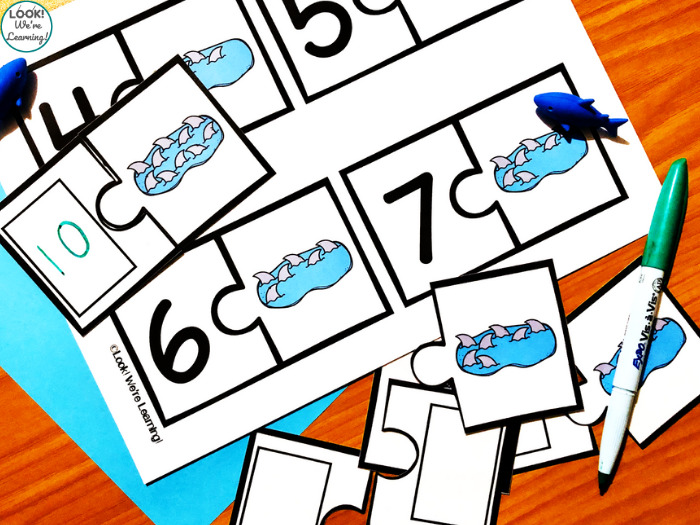 Shark Counting to Ten Puzzles for Kids