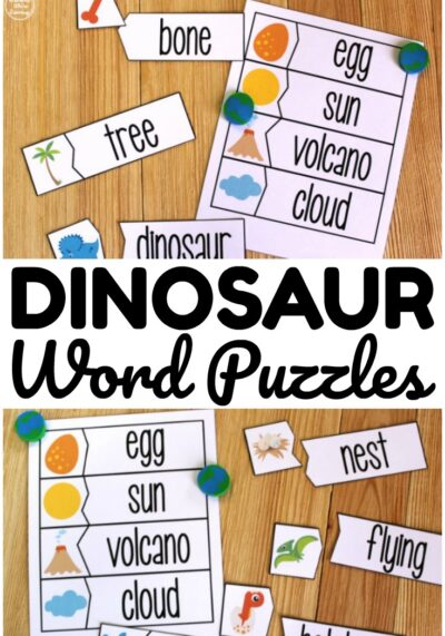 These fun dinosaur word matching puzzles are so fun for early literacy practice!
