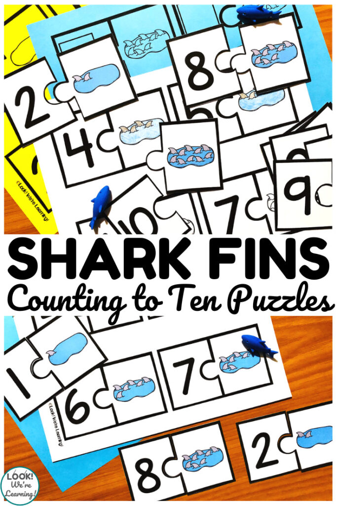 These shark themed counting to ten puzzles are wonderful for use at early math centers!