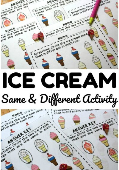 This ice cream themed same and different activity is a fun way to practice visual discrimination with little ones!