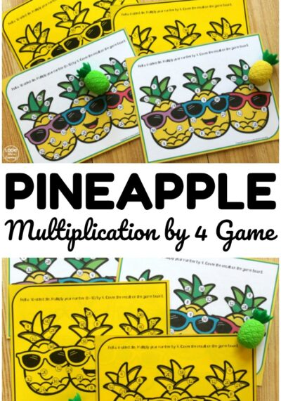 This printable multiplication by four game is a fun way to practice times tables!