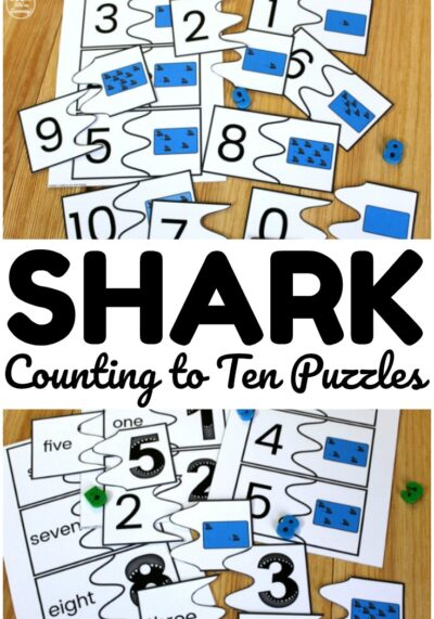 Use these printable shark counting to ten puzzles to help early learners practice counting with numerals, objects, and number words!