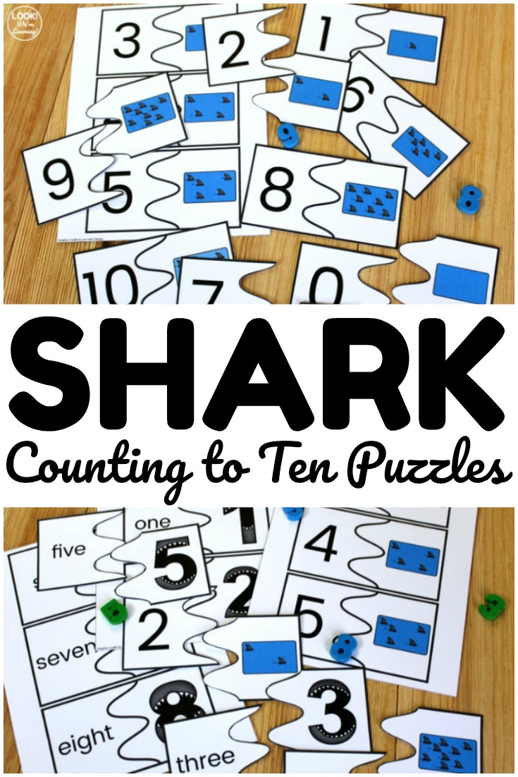 Printable Shark Counting to Ten Puzzles for Kids