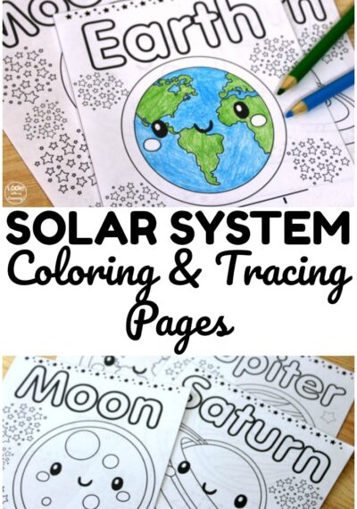 Use these printable solar system coloring pages for a fun astronomy activity for early learners!
