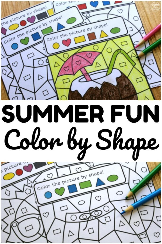 Use this Summer Color by Shape activity to help early learners practice recognizing shapes with a fun art twist!