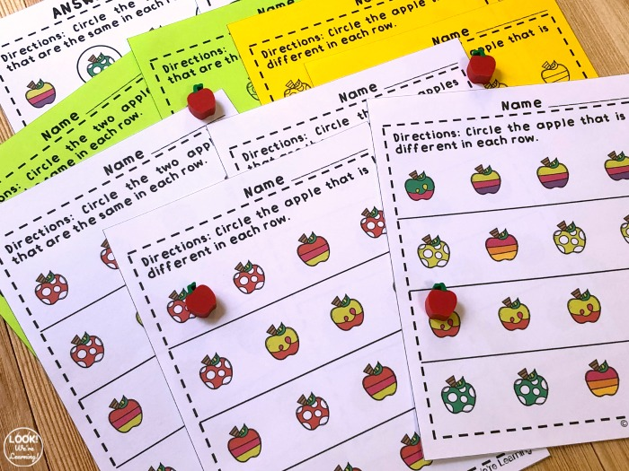 Apple Printable Same and Different Worksheets for Kids