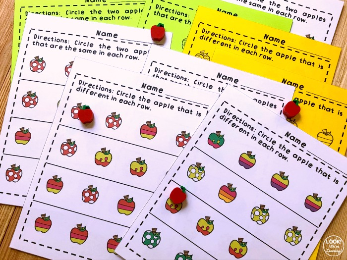 Apple Printable Same and Different Worksheets