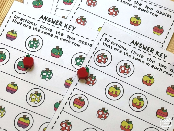 Apple Same and Different Worksheets Answer Key