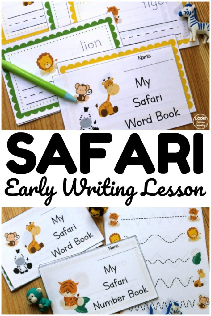 Introduce writing and early literacy skills with this fun safari themed preschool writing lesson!
