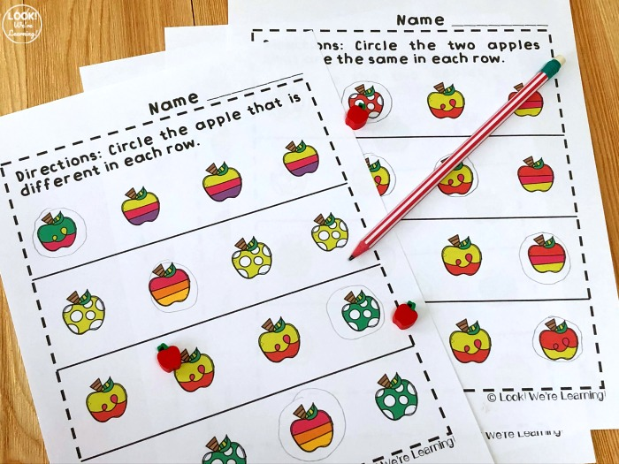 Printable Apple Visual Discrimination Activity for Early Learners