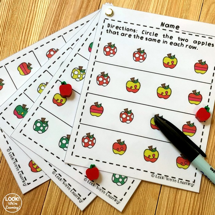 Printable Apple Visual Discrimination Activity for Kids