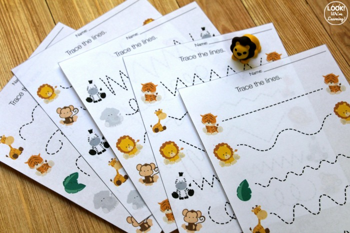 Printable Safari Preschool Tracing Worksheets