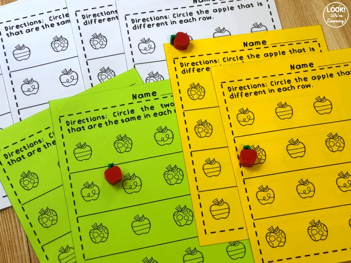 Same and Different Apple Worksheets for Kids