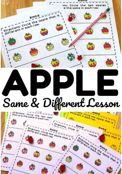 This printable apple same and different lesson is a fun way to help early learners practice visual discrimination skills!