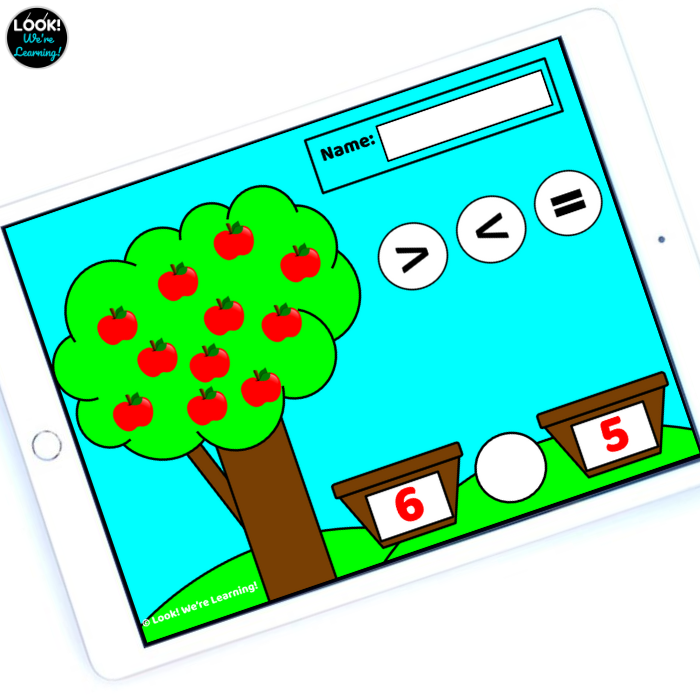 Digital Inequalities Apple Picking Game for Kindergarten