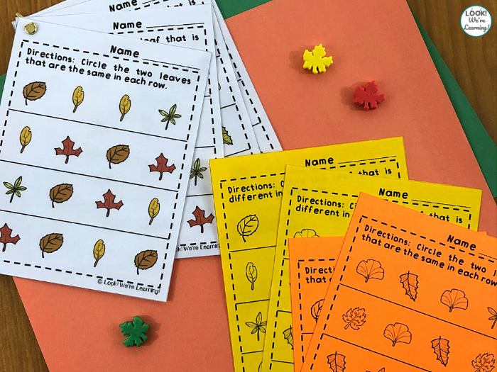 Leaf Same and Different Worksheets