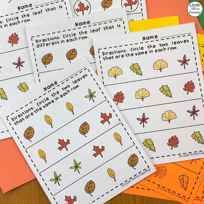Leaf Themed Same or Different Activity for Preschool