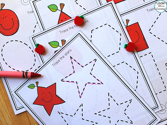 Printable Apple Shape Tracing Activity