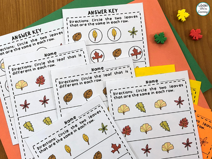 Printable Same or Different Leaf Worksheets