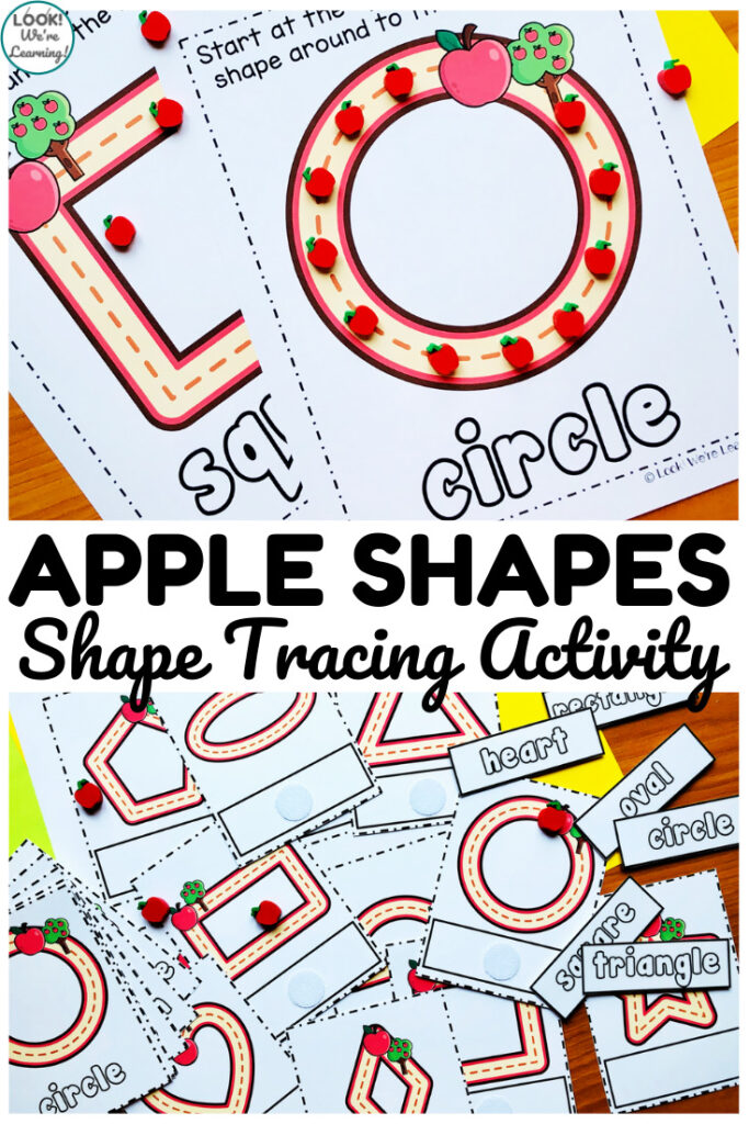 This fun apple shape tracing activity is perfect for teaching shape recognition to early learners!