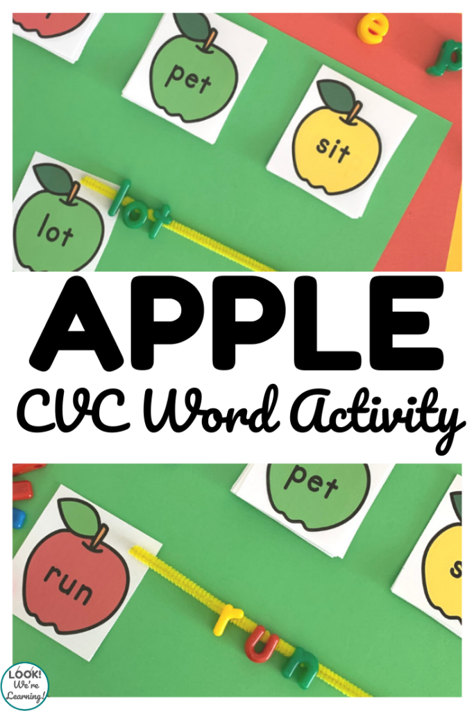 Work on early literacy skills with this fun fall apple CVC word literacy activity!