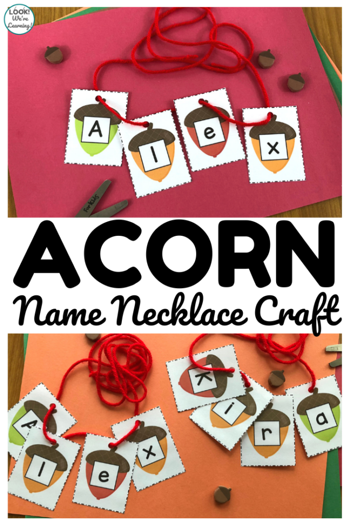 Acorn Name Necklace Craft for Kids
