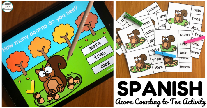 Digital and Print Spanish Acorn Counting to 10 Activity