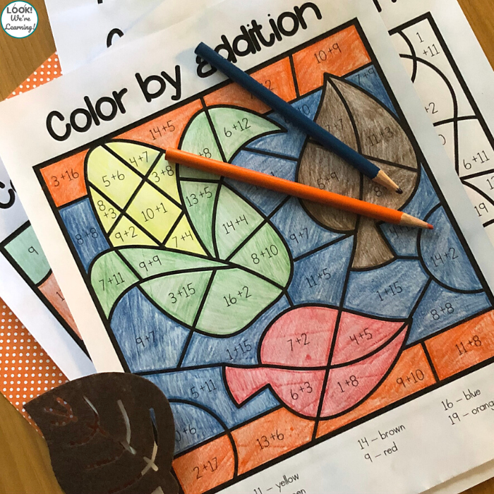 Fall Themed Color by Addition Activity