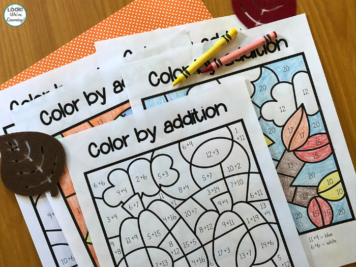 Fall Themed Color by Addition Worksheets
