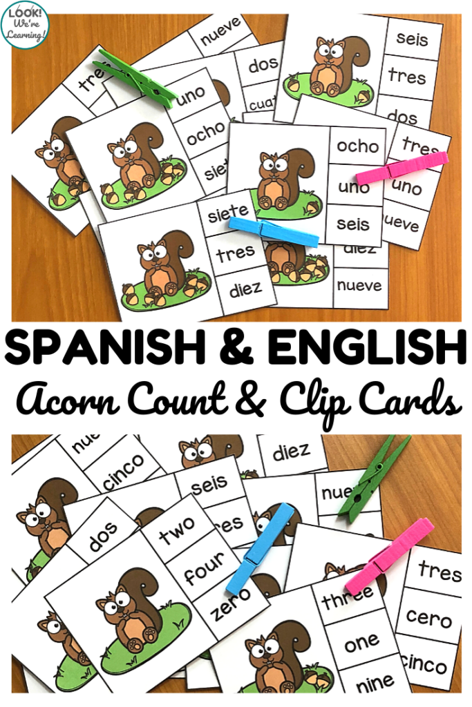 Learn how to use number words to count to ten in Spanish with these Spanish counting to ten cards for autumn! Perfect for fall math centers in early grades!