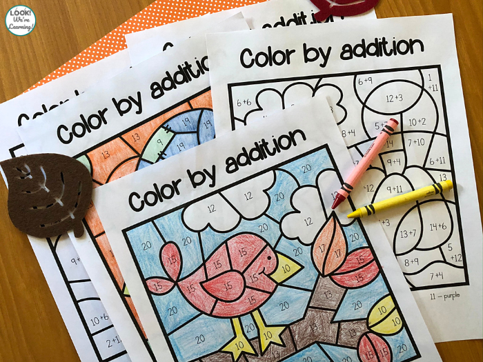 Printable Fall Color by Addition Activity Pages