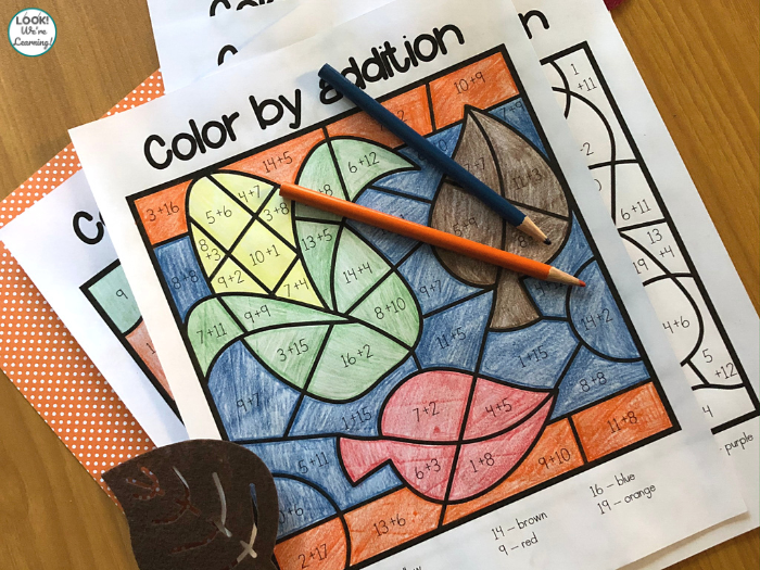 Printable Fall Color by Addition Worksheets