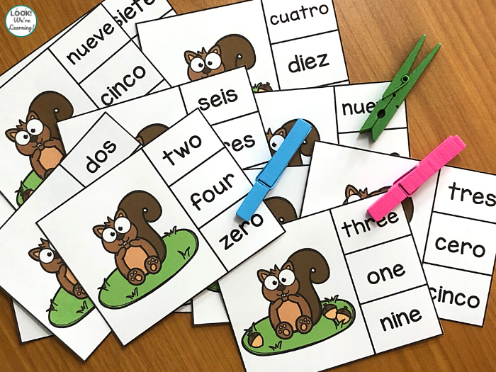 Printable Spanish Number Word Counting to 10 Cards