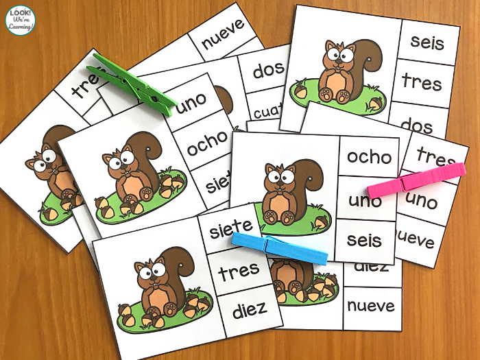 Spanish Acorn Count and Clip Cards