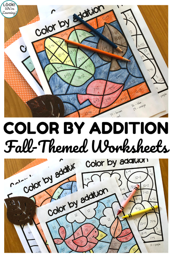 These fun fall color by addition worksheets are a perfect way to practice arithmetic with an art twist this year!