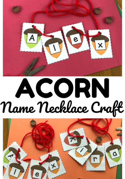 Turn learning to spell names into a fun fall activity with this easy Name Acorn Necklace Craft for kids!