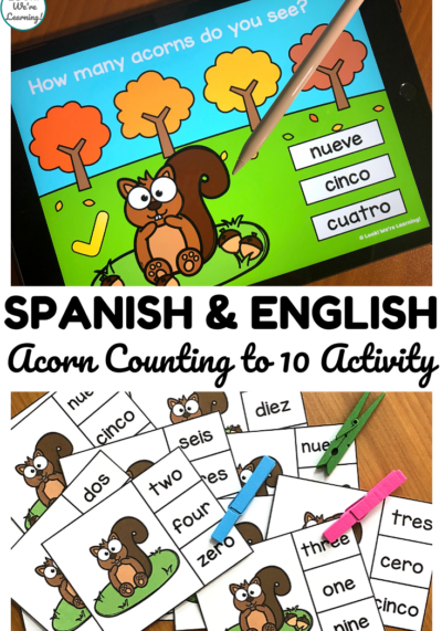 Use the digital or printable version of this Spanish Counting to 10 activity to practice number recognition in English and Spanish!
