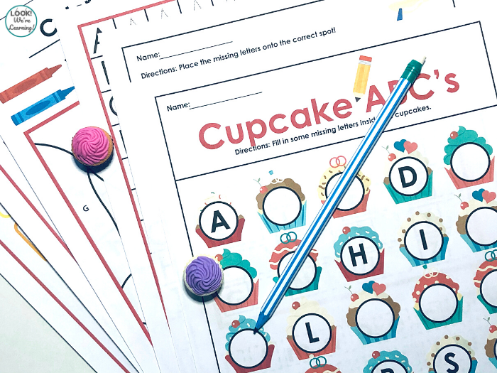 Printable Cupcake Alphabet Worksheets